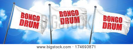 bongo drum, 3D rendering, triple flags