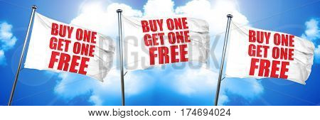 buy one get one free, 3D rendering, triple flags