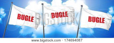 bugle, 3D rendering, triple flags