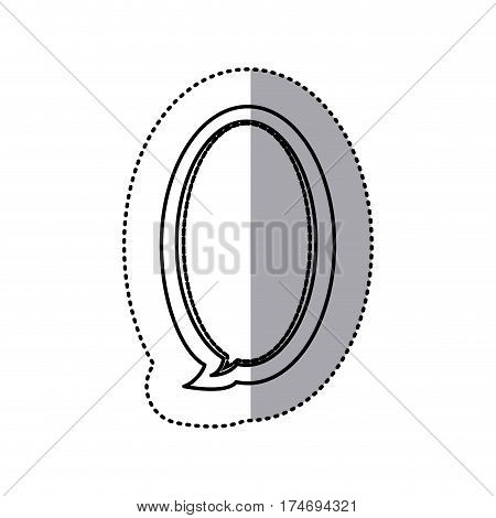 monochrome contour sticker of large oval frame callout dialogue vector illustration