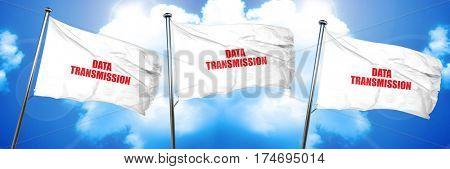 data transmission, 3D rendering, triple flags