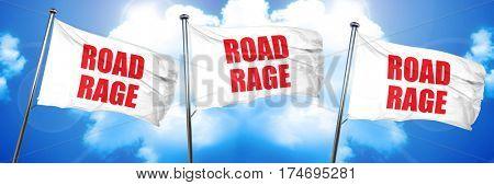 road rage, 3D rendering, triple flags