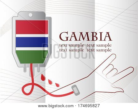blood donation design made from the flag of Gambia conceptual vector illustration.