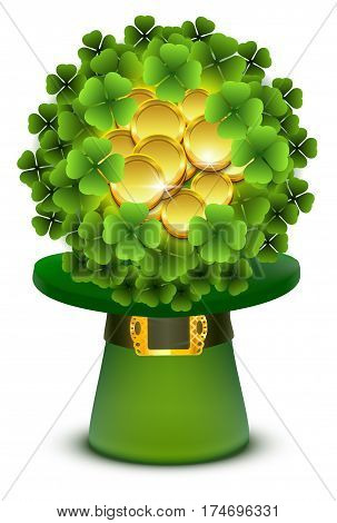 Green clover leaves and gold coins ball in top cylinder hat. Isolated on white vector illustration