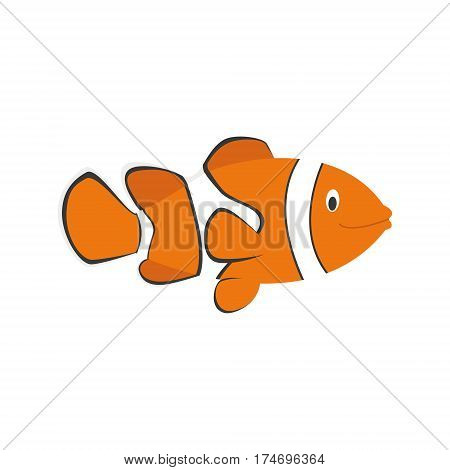 Cute clownfish in cartoon style vector illustration