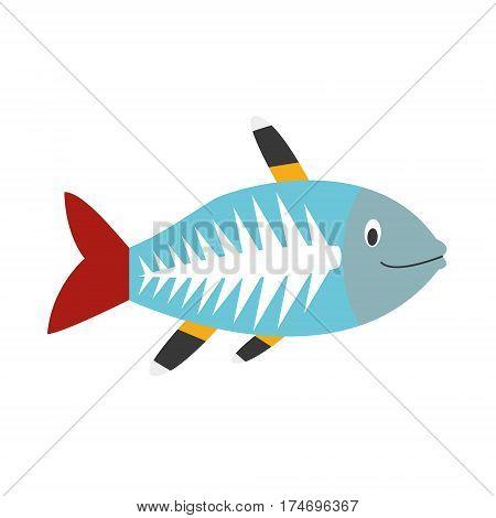 Cute x-ray fish in cartoon style vector illustration