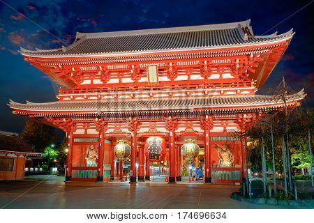 Senso-ji temple at twilight time, Tokyo Japan
