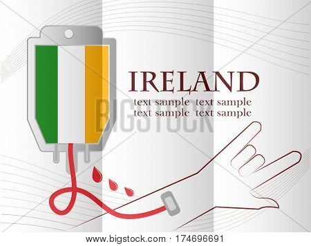 blood donation design made from the flag of Ireland conceptual vector illustration.