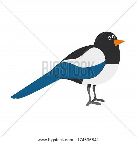 Cute magpie in cartoon style vector illustration
