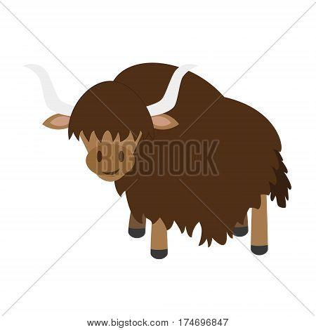 Cute yak in cartoon style vector illustration