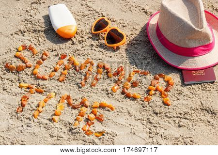 Inscription Summer Time, Accessories For Sunbathing And Passport On Sand At Beach, Summer Time