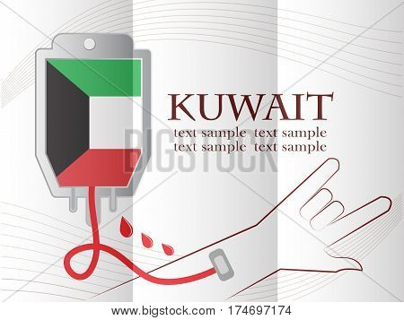 blood donation design made from the flag of Kuwait conceptual vector illustration.