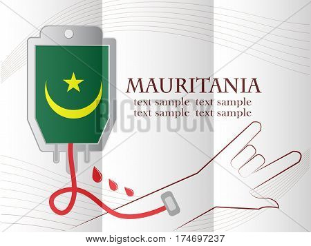 blood donation design made from the flag of Mauritania conceptual vector illustration.