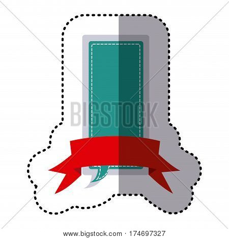 color sticker large rectangle dialog box design with ribbon vector illustration
