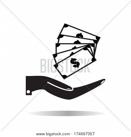 Pictograph of money in hand on white background. money in hand sign.