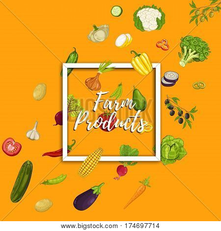 Farm product banner vector illustration. Natural vegetable, organic farming retail, vegan nutrition store poster. Food advertising with pepper, radish, eggplant, tomato, cabbage, carrot, broccoli