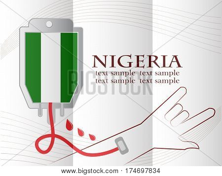 blood donation design made from the flag of Nigeria conceptual vector illustration.