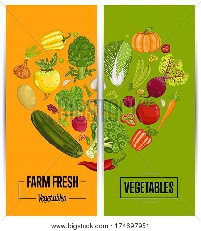 Organic vegetable farming flyers set vector illustration. Locally grown vegetable, vegan retail, natural product. Healthy farm food advertising with pumpkin, beans, onion, peas, tomato, radish, carrot