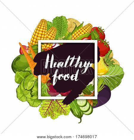 Healthy farm food banner vector illustration. Natural vegetable, organic farming, locally grown, vegan product store poster. Food advertising with pepper, radish, eggplant, tomato, corn, onion, carrot