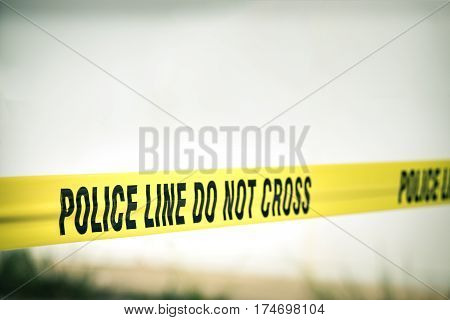 police line do not cross protection crime scene with copy space