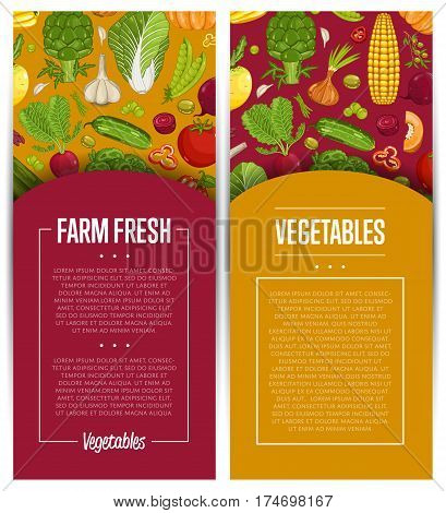 Fresh vegetable farming flyers set vector illustration. Locally grown vegetable, vegan retail, natural product. Healthy farm food advertising with pumpkin, beans, onion, peas, tomato, radish, carrot