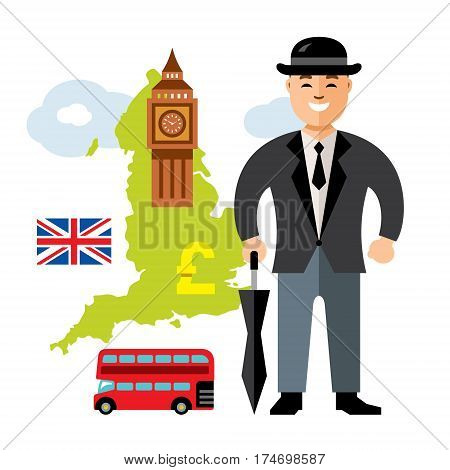 British gentleman with umbrella, double-decker bus, big clock tower, flag, pound. Isolated on a white background