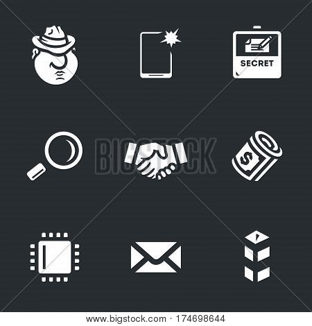 Spy, smartphone, secret documents, magnifying glass, shaking hands, money, discount, letter, border.