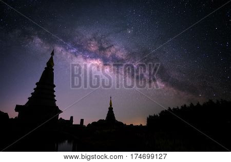 Milky Way With Two Pagoda In Chiang Mai