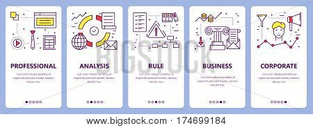 Vector set of criteria concept vertical banners. Professional, analysis, rule, business and corporate concept elements. Thin line flat design symbols, icons for website menu, print.