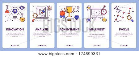 Vector set of improve concept vertical banners. Innovation, analysis, achievement, implement and evolve concept elements. Thin line flat design symbols, icons for website menu, print. poster