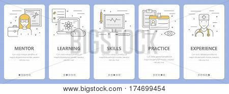 Vector set of concept internship vertical banners. Mentor, learning, skills, practice and experience concept elements. Thin line flat design symbols, icons for website menu, print.