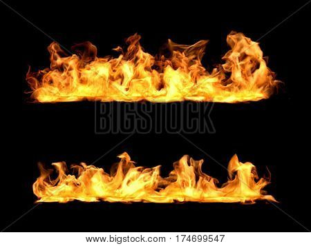 3d rendering of bright orange fire flames in two rows on black background. Realistic flame. Visual effects. Hellfire.