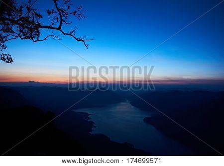 Before sunrise at mountain view point, Pha Daeng Luang,  Mae Ping Nation Park, Lumphun, Thailand