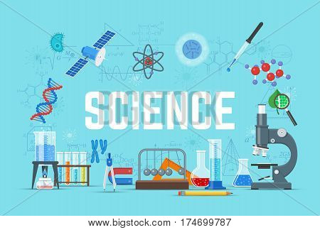 Vector flat style design poster with chemistry, physics, biology science concept design elements, icons. Laboratory glassware and science equipment.
