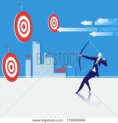 Vector illustration of bowman shooting an arrow. Businessman sighting the bow at center of target. Business goal concept design element.