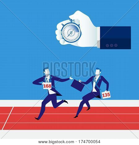 Vector illustration of businessmen relay race and human hand with stopwatch. Teamwork, partnership concept design element.
