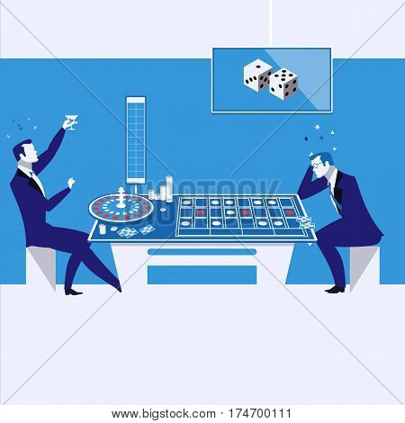 Vector illustration of two men, businessmen gambling on cards in casino. Winner and loser players.