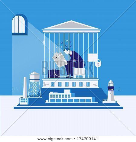 Vector illustration of businessman chained to his briefcase in debtors prison. Business bankruptcy, debts concept design element. poster