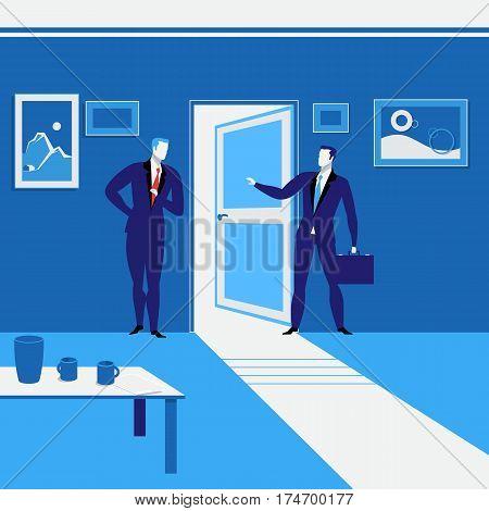 Vector illustration of two businessmen standing at open door. One man is going away. Business meeting concept design element.