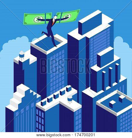 Businessman flying on the wings of financial success above skyscrapers. Financial independence, business success concept design element.