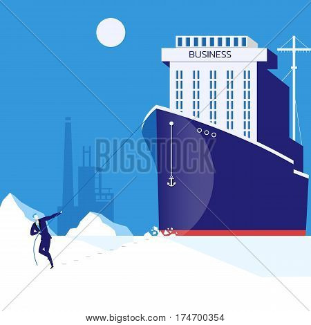 Vector illustration of businessman pulling huge business ship with rope. Business leadership, hardship and burden concept flat style design.