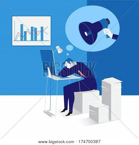 Vector illustration of sleeping businessman at work. Office worker sitting on papers in front of laptop. Human hand holding megaphone. Flat style design.