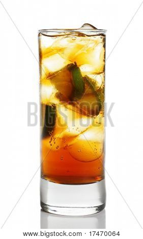 Cocktail - Cognac with Lime in Highball Glass with Ice Cubes. Isolated on White Background