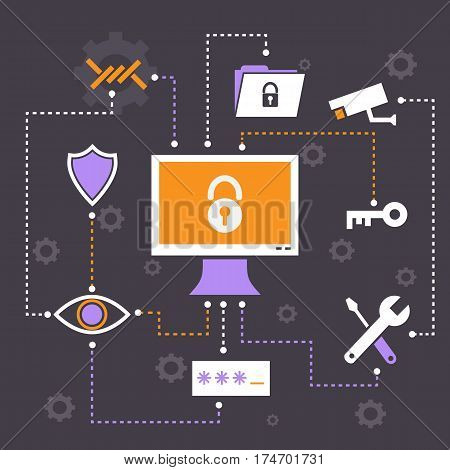 Security infographic on grey background, stock vector