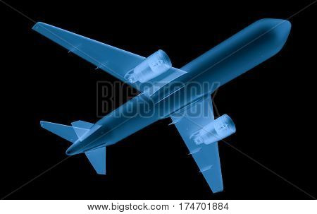 X Ray Airplane On Black Background