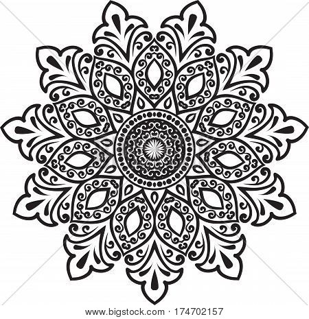 Drawing of a abstract vector with floral round lace mandala decorative element in ethnic tribal style black line art on a white background
