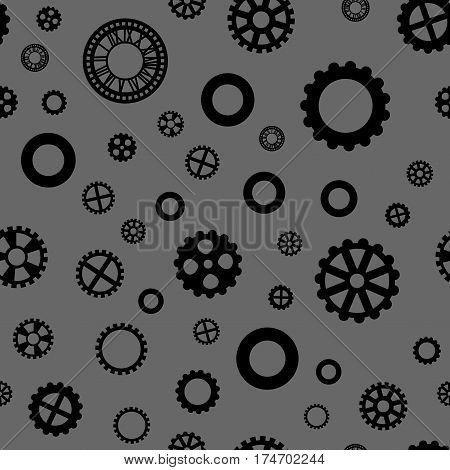 seamless pattern with black gears on a dark gray background