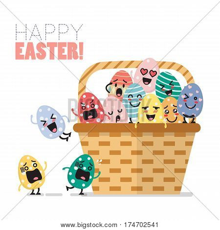 Easter eggs character in basket. Flat stle design
