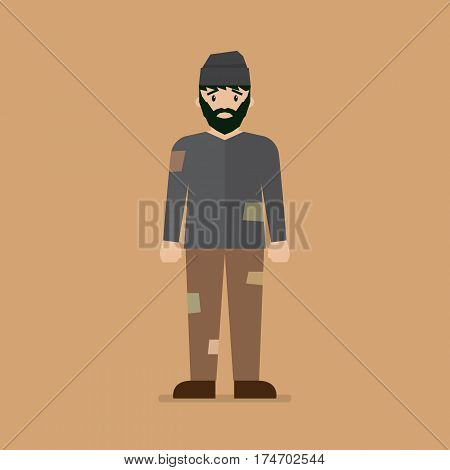 Homeless man character. Vector cartoon illustration isolated background