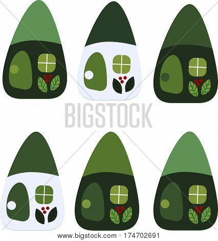 drawing of a cartoon cute toy fairy house - six houses in a green color scheme